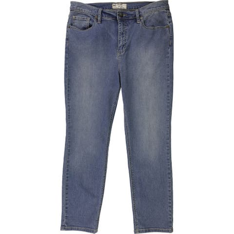 Free People Womens Solid Relaxed Fit Jeans, Blue, 31