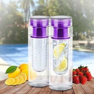 2pk Portable Fruit Infusing Infuser Water Bottle, safe Bpa Plastic, Purple, US