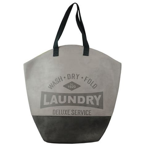 Deluxe Service Wash Dry Fold Canvas Laundry Tote, Grey