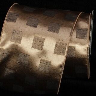 "Brilliant Amber Checked Squares Taffeta Wired Craft Ribbon 5"" x 20 Yards"