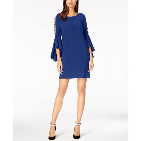 MSK Women's Bell Sleeve Lattice Cocktail Dress Bright Blue Size Small
