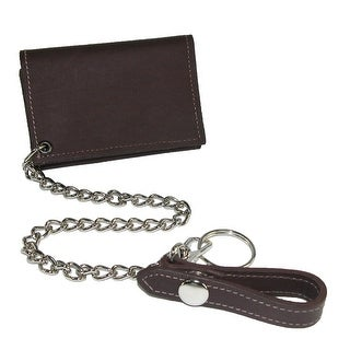 CTM® Men's Leather Trucker Chain Trifold Wallet - One size
