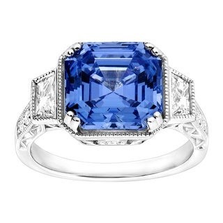 Square Cocktail Ring with Fancy Blue Swarovski Zirconia in Sterling Silver