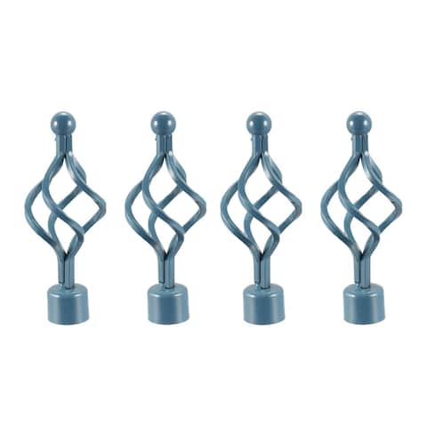 Curtain Rod Finials Iron Cap End for 28mm Drapery Pole 160mm x 62mm - Blue - 4 Pack