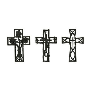 Set of 3 Rustic Brown Cast Iron Decorative Wall Crosses