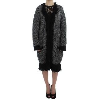 Dolce & Gabbana Black Gray Long Cape Cardigan Sweater - it46-l