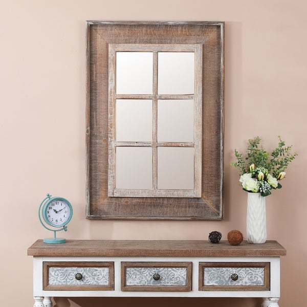 Rectangular Wood Window Frame Wall Mirror. Opens flyout.