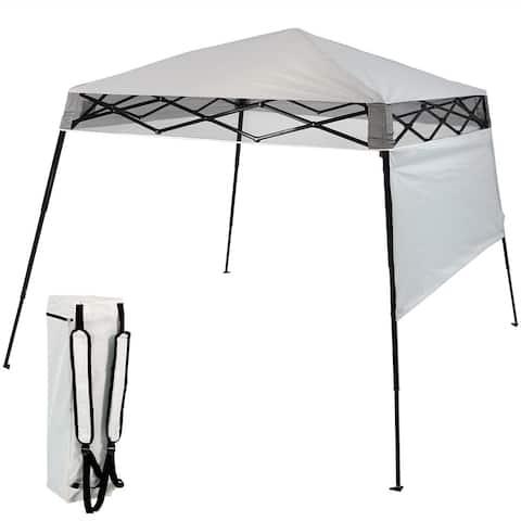 Sunnydaze Compact Quick-Up Slant Leg Instant Pop-Up Backpack Canopy - Light Grey
