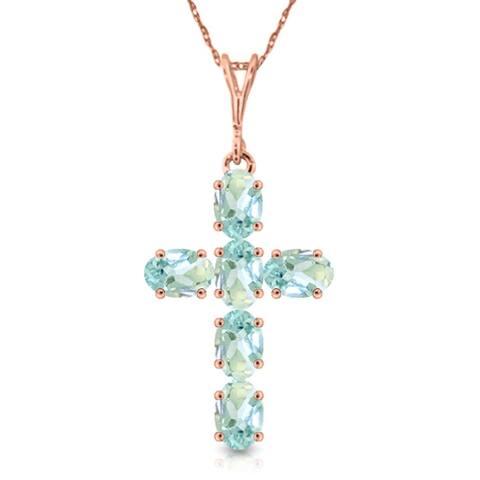 1.5 Carat 14K Solid Gold Cross Gemstone Necklace Natural Aquamarine