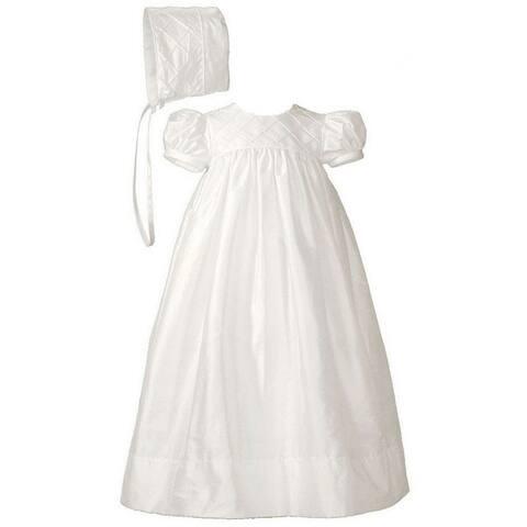 Baby Girls White Silk Lattice Bodice Short Sleeve Hat Christening Gown
