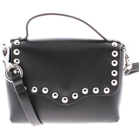 Rebecca Minkoff Womens Blythe Crossbody Handbag Leather Studded - Black - Small