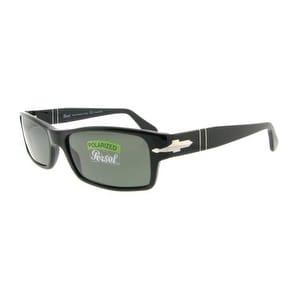PERSOL Rectangular PO 2747S Unisex 95/48 Black Black Grey Polarized Sunglasses - 57mm-16mm-140mm