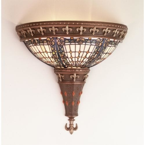 Meyda Tiffany 50241 Stained Glass / Tiffany Wall Washers Wall Sconce from the Fleur-de-lis Collection