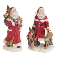 Set of 4 Red and White Santa Claus with Woodland Animals Christmas Table Toppers 12""