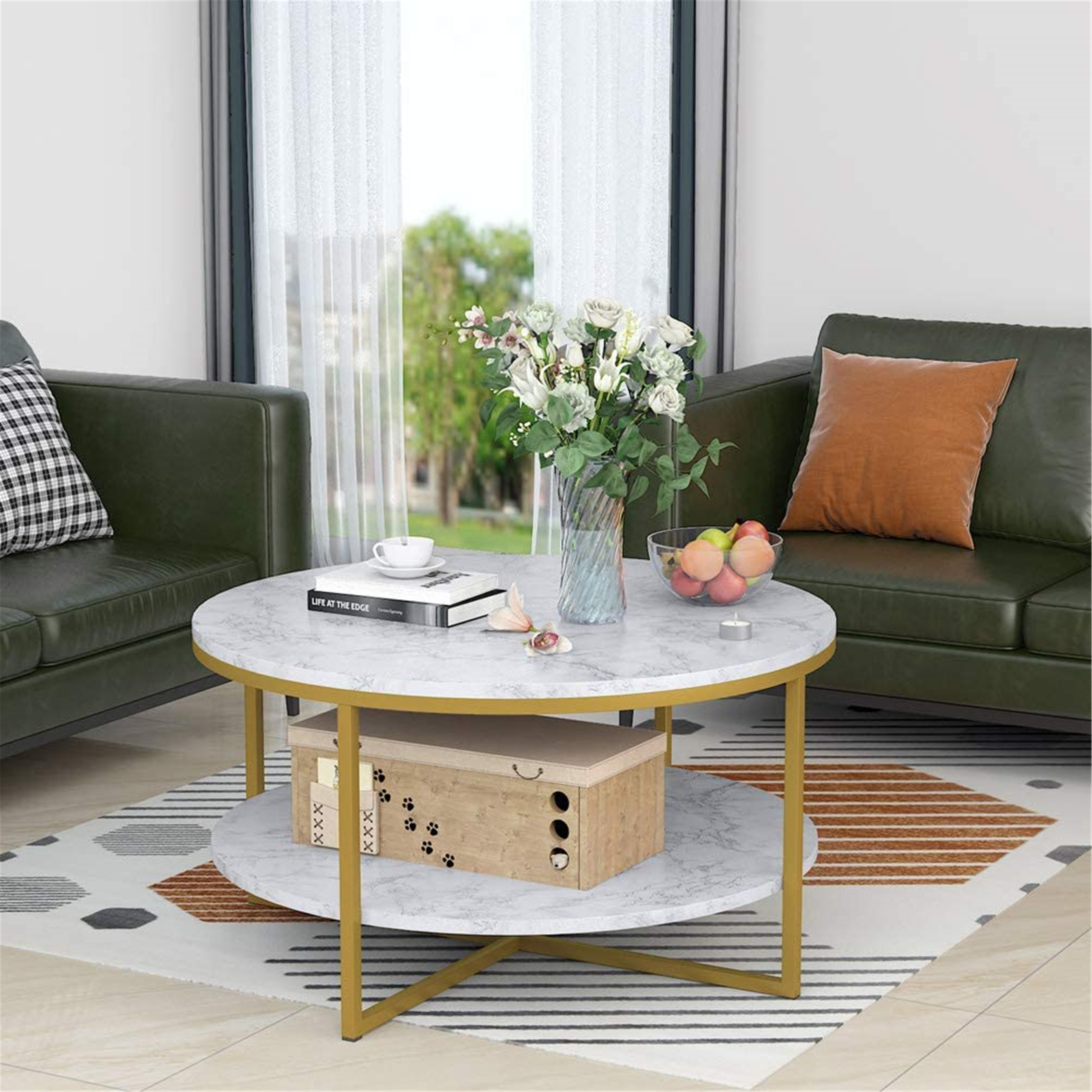 Round Coffee Table Modern Marble With Gold Legs 90x90x48cm White Gold Overstock 31832054