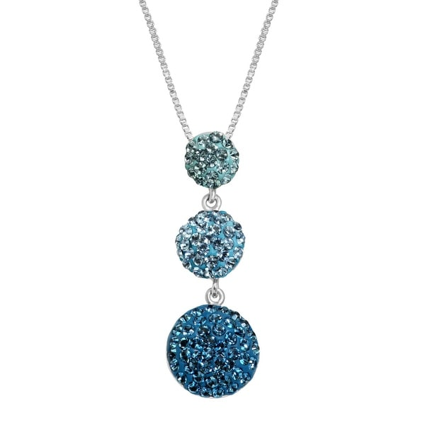 Crystaluxe Graduated Pendant with Royal Blue Swarovski Crystals in Sterling Silver