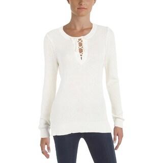 Lauren Ralph Lauren Womens Pullover Sweater Lace Up Scoop Neck