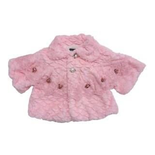 Baby Girls Pink Lace Flower Embellished Faux Fur Large Sleeve Jacket (Option: 18 Months)