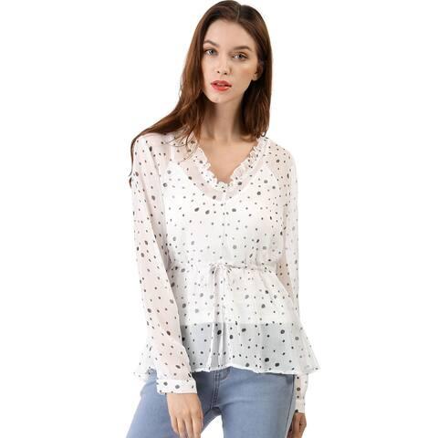 Unique Bargains Women's Cami Set Semi Sheer Ruffle Polka Dot Chiffon Blouse - White