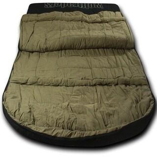 Wolftraders TwoWolves +0 Degree Fahrenheit 2-Person Premium Canvas Sleeping Bag, Black/Tan