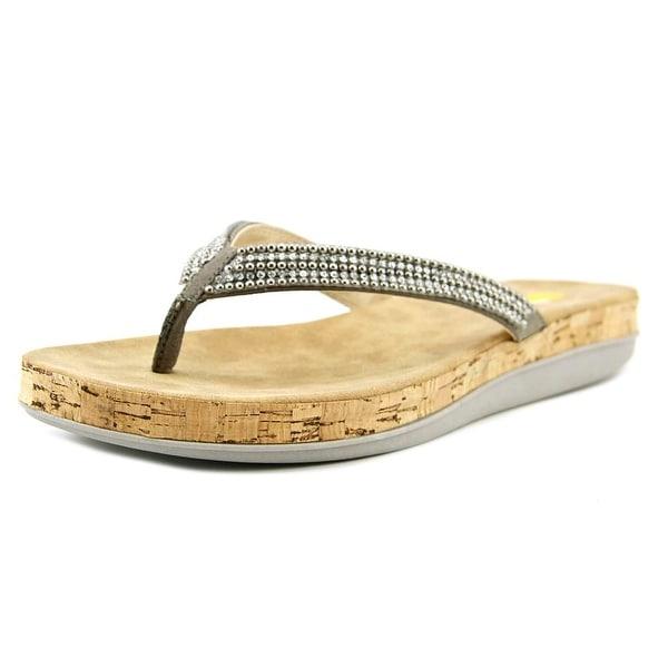 Volatile Tira Women Open Toe Canvas Gray Thong Sandal