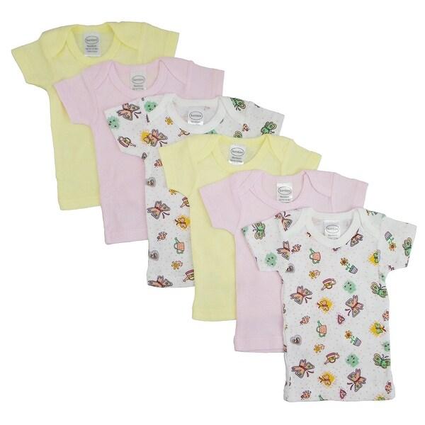 Bambini Girl's Yellow, Pink, Printed Rib Knit Short Sleeve T-Shirt 6 - Pack