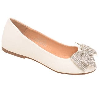 fc24eae8fa00 De Blossom Girls White Glitter Rhinestone Bow Adorned Slip-On Flats