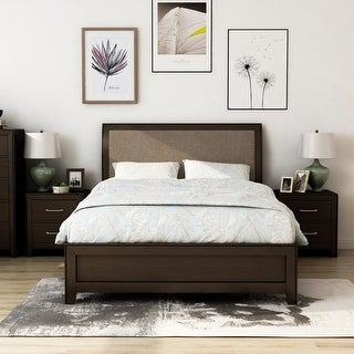 Link to Furniture of America Yra Walnut 3-piece Bedroom Set with 2 Nightstands Similar Items in Bedroom Furniture