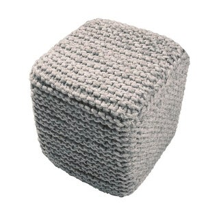 "18"" Gray Wool Guna Square Decorative Ottoman Pouf - Brown"