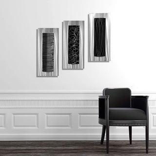 Link to Statements2000 Silver/Black Metal Wall Art Accent Sculpture Modern Decor by Jon Allen (Set of 3) -  Trifecta Similar Items in Wall Sculptures
