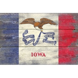 Iowa State Flag - Barnwood Painting - Lantern Press Artwork (Cotton/Polyester Chef's Apron)