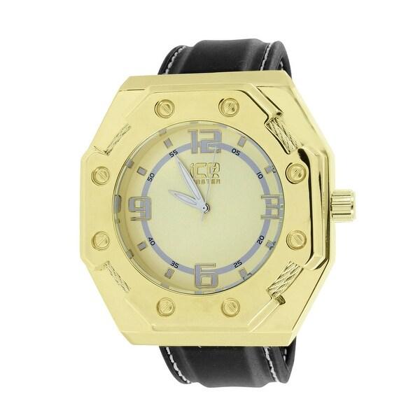 Gold Tone Watch XL Face 55mm Ice Master Analog Black Leather Band Screw Bezel