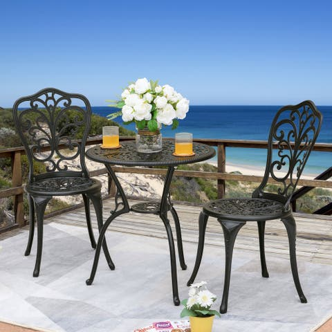 NUU GARDEN 3-Piece Cast Aluminum Patio Bistro Set, Black