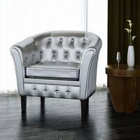 vidaXL Artificial Leather Armchairs Tub Chair Silver