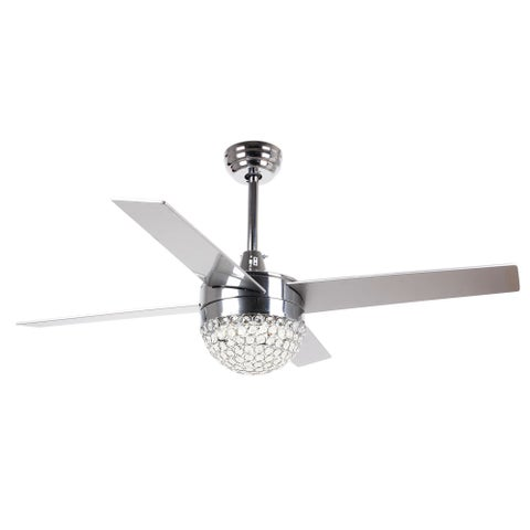 48-inch Modern 4-Blades Crystal Ceiling Fan with Remote and Light Kit - 48""
