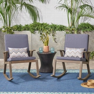 Link to Champlain Outdoor Acacia Wood Rocking Chair with Water-Resistant Cushions (Set of 2) by Christopher Knight Home Similar Items in Outdoor Sofas, Chairs & Sectionals
