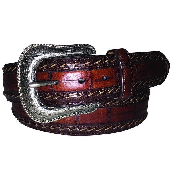 G-BAR-D Western Belt Mens Croco Print Laced Edge Brown
