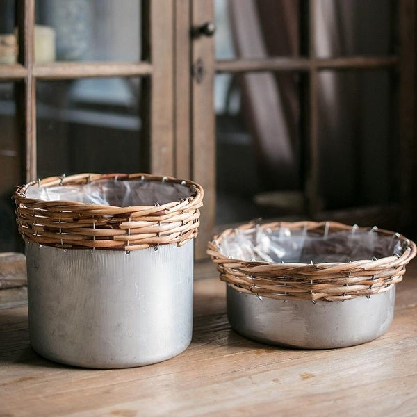 RusticReach Silver Metal Willow Mixed Zakka Planter