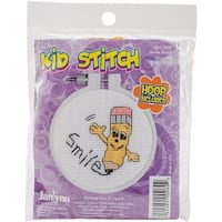 "Kid Stitch Smile Counted Cross Stitch Kit-3"" Round 11 Count"
