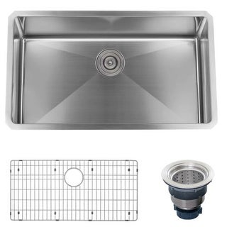 "Miseno MSS3219SR 32"" Undermount Single Basin Stainless Steel Kitchen Sink - Drain Assembly and Fitted Basin Rack Included Free"
