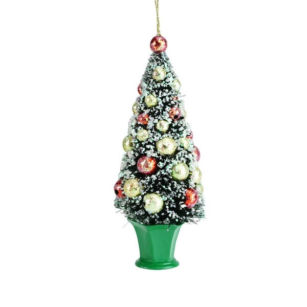 "5.5"" Bottle Brush Christmas Tree in Green Pot Christmas Ornament"