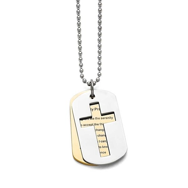 Chisel Stainless Steel Polished Yellow IP-plated Serenity Prayer Necklace - 22 in