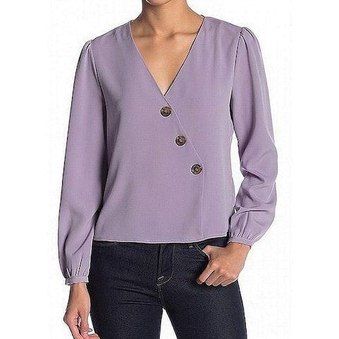 Elodie Women Blouse Purple Size Small S Asymmetrical Button Front V-Neck