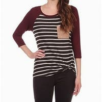 Moa Moa Womens Medium Twist-Detail Striped Knit Top