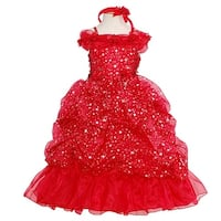 Rain Kids Red Sparkling Stars Pageant Dress Toddler Girls 2T-10