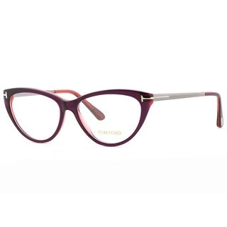 TOM FORD Cat eye TF 5354 Women's 075 Aubergine Fuchsia Clear Eyeglasses - 53mm-14mm-140mm