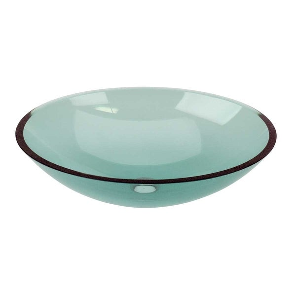 Green Tempered Glass Sink with Drain, Single Layer Oval Bowl Sink