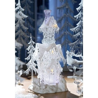 """Pack of 2 Icy Crystal Illuminated Decorative Christmas Snow Houses 17.5"""""""