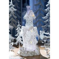 Pack of 2 Icy Crystal Illuminated Decorative Christmas Snow Houses 17.5""
