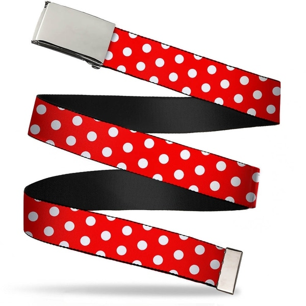Blank Chrome Buckle Minnie Mouse Polka Dots Red White Webbing Web Belt
